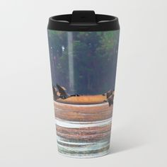Flying Canadian Geese Travel Mug by scotthervieux Canadian Gifts, Paper Products, Coolers, Paper Plates, Travel Mug, Bottle Opener, Tea Pots, Water Bottle, Mugs
