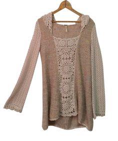 FREE PEOPLE Sweater Tunic Sz XS Merci Pullover Sandstorm Boho Open Knit XSmall #FreePeople #Tunic