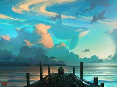 Some surrealistic digital paintings of dreamy skyscapes with whales soaring through the clouds, created by Russia-based CG artist Artem Chebokha.