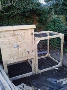 Chicken coop from a pile of pallets Great little pallet project Would make for a good rabbit hutch too. I would put a roof/cover over the exposed part to keep out predatory birds. Also I would make that part a bit bigger if raising chickens (depending on how many there are too).