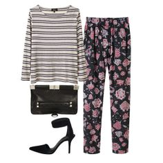 adore this floral pant + stripped tee combo @FabSugar