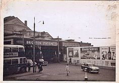 Archive black and white photograph of Brighton Railway Station