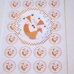 24 Sticker, Aufkleber Fuchs - Liebe  von ღKreawusel-Designღ auf DaWanda.com
