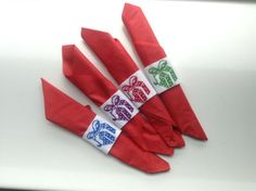 Napkins rings set of 4 handmade made to order by Klettur on Etsy