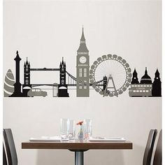 London Bridge 27 Wall Stickers Mural City Buildings Room Decor Skyline Decal Br7