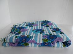 Vintage toweleing fabric, retro , mod, single sided, blue stripe and floral - PRICED PER METRE, 96 cm wide. by BlindDogVintage on Etsy