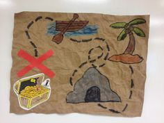 MONDAY- JULY (one of two crafts) Supplies- Brown paper, scissors, glue, crayons, colored paper Treasure Maps For Kids, Pirate Treasure Maps, Pirate Maps, Pirate Theme, Buried Treasure, Pirate Party, Summer Camp Crafts, Camping Crafts, Peter Pan Crafts