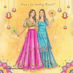 Diwali Festival Drawing, Diwali Drawing, Dress Illustration, Fashion Illustration Dresses, Fashion Illustrations, Fashion Design Drawings, Fashion Sketches, Diwali Painting, Painting Art