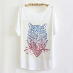 Animal Print T shirt Women Tops Harajuku Owl Tshirt 2015 Casual Short Sleeve Batwing White Tee Shirts femme Camisetas Mujer-in T-Shirts from Women's Clothing & Accessories on Aliexpress.com | Alibaba Group