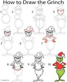 Image result for how to draw the grinch stealing lights