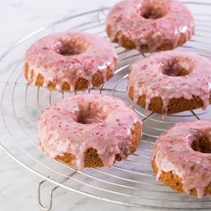 Strawberry Banana Donuts, Gluten-Free. Strawberry Glazed and perfect with that weekend coffee. Easy.