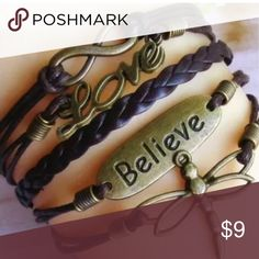 BELIEVE CHARM WRAP! POPULAR •dragonfly charm •believe charm •brown leather style wrap •adjustable clasp in back •one size fits all •brand new never worn •packaged retail item Jewelry Bracelets