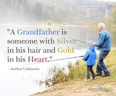 A grandfather is someone with silver in his hair and gold in his heart. www.albeebaby.com