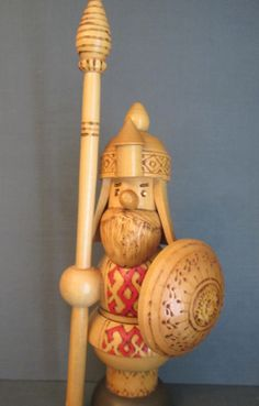 Wooden Viking Warrior  Made in Russia by WhatsOnTheShelf on Etsy, $25.00