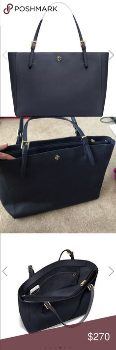 TORY BURCH YORK TOTE LARGE NAVY LEATHER Tory Burch large leather York tote in navy with gold hardware ; laptop sleeve and multiple pockets/compartments! super cute get tons of compliments on it! used it for about 6 months but no visible wear :) Tory Burch Bags Totes