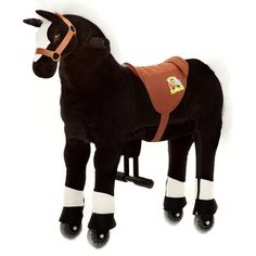 """Das Animal-Riding Pferd """"Maharadscha"""" ist ein gesundes Bewegungsgerät, welches viel Spiel und Spaß für Kinder bietet. Es zeichnet sich durch einen weichen Plüschkörper und ein innovatives Antriebssystem mit Lenkung, Haltegriffen, Fuß-Stützen und Kunststoff-Rädern aus. Die Tiere sind in 3 Größen (klein, mittel, groß) erhältlich."""