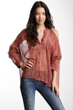 Long Sleeve Cold Shoulder Button Front Silk Top on HauteLook