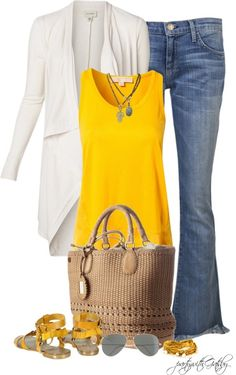 I would change the cardigan to a plain button up to flatter my figure, but love how happy and carefree this outfit is