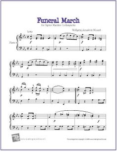 Funeral March (Mozart) | Free Sheet Music for Easy Piano - http://makingmusicfun.net/htm/f_printit_free_printable_sheet_music/funeral-march-piano-solo-mozart.htm
