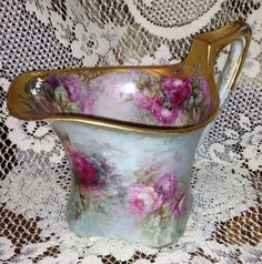 Nellie Scheinert Limoges Elegant Museum Quality Pink Roses Design on Cider Pitcher-OMG such an unusual shape. Antique Dishes, Antique China, Vintage China, Vintage Vases, Vintage Pottery, Fine Porcelain, Painted Porcelain, Hand Painted, Delft