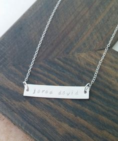 Hand Stamped Jewelry // Custom Bar Necklace // Personalized Jewelry // Sterling Silver Bar Necklace