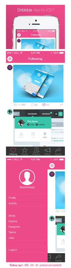 Example of flat design - Dribbble App iOS7 by Mesnil Théo, via Behance