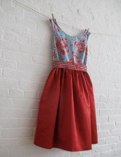 tea dress in red silk by sohomode on Etsy