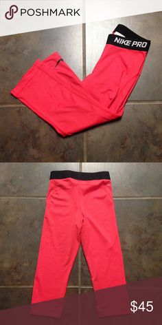 Red dri-fit capri NIKE PRO. NWOT Red dri-fit capri NIKE PRO. NWOT Nike Pants Leggings