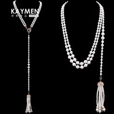 Kaymen Imitation Pearl Multi Layer Necklaces Gold with Tie Many Knots Dual Purpose Chains Necklaces Fashion Jewelry Pendants