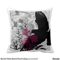 Shop White Black Bird Floral Collage Throw Pillow created by LeonOziel. Decor Pillows, Decorative Throw Pillows, White Shop, Designer Throw Pillows, Repeating Patterns, Collage, Tapestry, Bird, Black And White