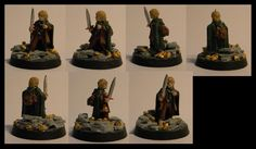Hafling wizard-rogue; some Frodo miniature, from toe to top 21mm.  Since the character loves wealth so much I decided to put some big gold nuggets on the base. I like the contrast between the light grey of the flagstones and the light gold of the nuggets.