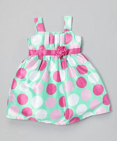 eae6afa056f57 Loving this Mint  amp  Rose Polka Dot Pleated Dress - Toddler on  zulily!