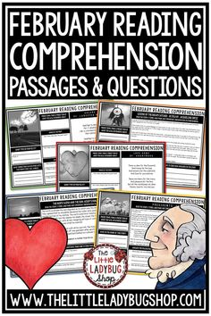 February Reading Comprehension Passages Weekly Practice is 6 Weeks of Reading Comprehension Perfect for: Warm-up, Bell Work, Homework, or quick assessments. Students can use independently in literacy groups, guided reading groups! Perfect for students in 3rd grade, 4th grade, 5th grade and homeschooling #readingpassages3rdgrade #readingpassages #readingpassages4thgrade
