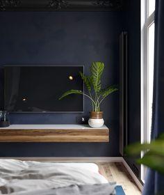 Dark Blue Rooms, Dark Gray Bedroom, Blue Master Bedroom, Dark Living Rooms, Grey Bedroom Decor, Bedroom Colors, Blue Bedrooms, Master Bedrooms, Bedroom Ideas