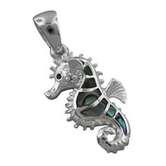 925 Silver Abalone Seahorse Pendant Hawaiian Jewelry