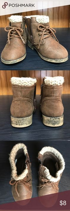 Toddler boots Garanamals brown distressed boots. Has side zip. Worn once. Has a few water spots on the toe. Shoes Boots