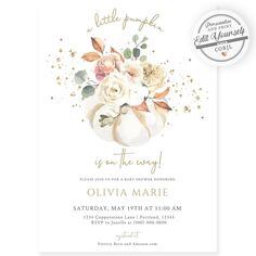 Little Pumpkin Baby Shower Invitation | Forever Your Prints