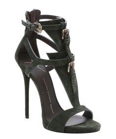 Giuseppe Zanotti military green suede 'Coline' t-strap stiletto sandals