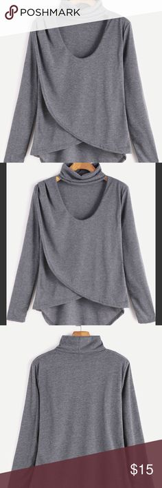 Choker Neck Wrap Top🚨Only One Left! Gray brand new, still in original packaging Tops Tees - Long Sleeve