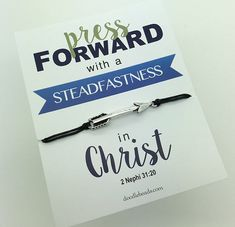 2016 Mutual Theme - Press Forward - Gold or Silver arrow bracelet unisex carded Youth LDS Mutual theme YM YW camp new beginnings handout