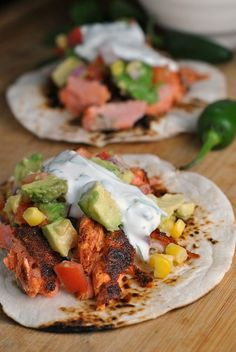 """Healthy Motivation : Illustration Description Blackened Salmon Tacos with Corn Salsa + Cilantro-Lime Ranch """"Life begins at the end of your comfort zone"""" ! -Read More – Salmon Recipes, Fish Recipes, Seafood Recipes, Mexican Food Recipes, Vegetarian Recipes, Cooking Recipes, Healthy Recipes, Ethnic Recipes, Healthy Foods"""