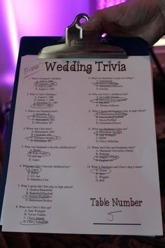 Multiple choice facilitated/MC'ed Trivia during the family photos. Before B & G arrive at reception.