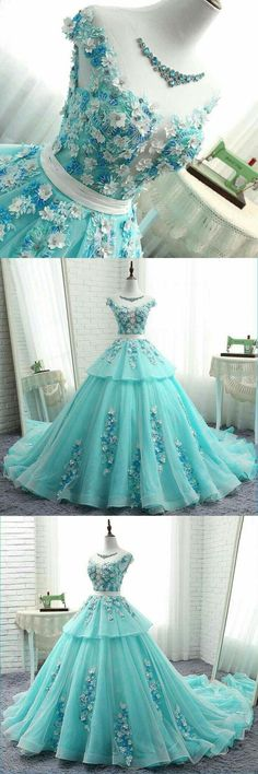 scoop cap sleeves tiffany blue lace long evening prom dresses cheap custom sweet 16 dresses 18522 - The world's most private search engine Quinceanera Dresses, Cheap Prom Dresses, Trendy Dresses, Fashion Dresses, Formal Dresses, Quince Dresses, Ball Dresses, Ball Gowns, Evening Dresses