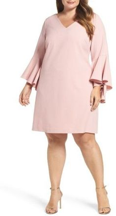 Eliza J Plus Size Women& Bell Sleeve Crepe Shift Dress at Diyanu Curvy Outfits, Cool Outfits, Plus Size Dresses, Plus Size Outfits, Plus Size Kleidung, Maxi Dress With Sleeves, Plus Size Women, Vintage Dresses, Ivory Dresses