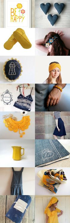 Be Happy with blue and yellow! by Meral Dönmez on Etsy--Pinned with TreasuryPin.com
