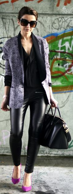 Sunday Packing by Lovely Pepa- leather pants, blazer, black blouse, magenta pumps. Great office outfit!
