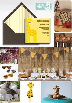 Safari Children's Party and Invitations Giraffe jungle - Invitaciones fiesta cumpleaños infantil safari jirafa jungla - La Belle Carte