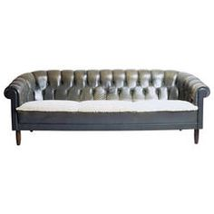 Danish Leather and Shearling Chesterfield Sofa