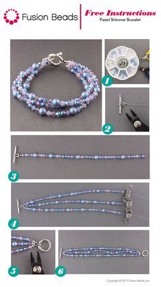 How to start and finish a beaded necklace or bracelet crimp beads be pretty in pastels with our stunning new swarovski crystal pastel shimmer bracelet design fandeluxe Images