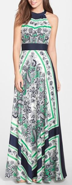 scarf print summer maxi dress
